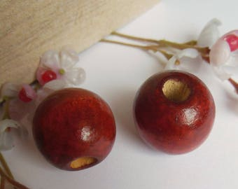set of 2 round red wooden beads