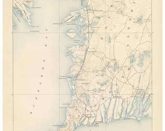 Falmouth 1890 USGS Old Topo Map Buzzards Bay Reprint Topographic Massachusetts - Rumsey Quad