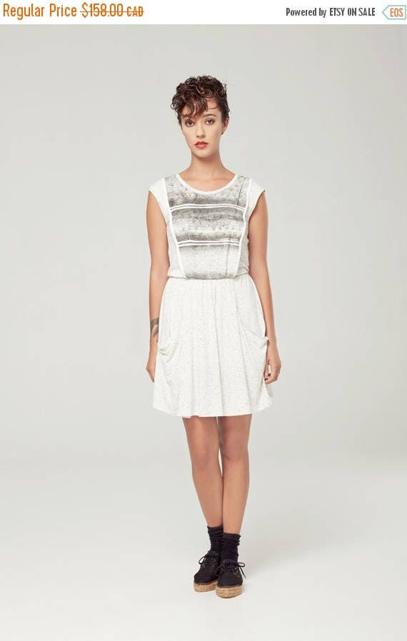 SOLDE ANDROMÈDE - sleeveless skater dress, empire waist, flared dress for women - textured white with edgy and grunge silkscreen