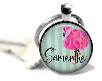 Flamingo keychain personalized name keyring custom pink flamingo sorority gift preppy stripe beach key chain .