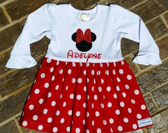 Girls Appliquéd Minnie Mouse Polka Dot Dress with Embroidered Name