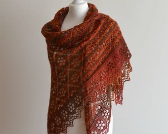 Multicolored hand knitted wool lace shawl triangular wrap handmade