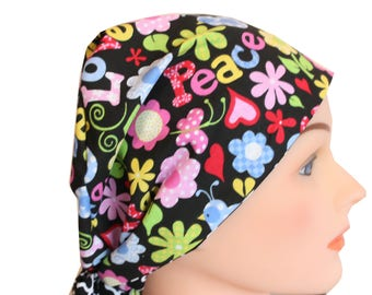 Scrub Hat Surgical Scrub Cap Chemo Vet Nurse Dr Hat European Pixie Style BoHo Peace Love and Flowers  2nd Item Ships FREE
