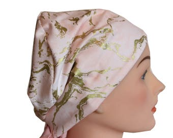 Scrub Hat Surgical Scrub Cap Chemo Vet Nurse Dr Hat European Pixie Pink Gold Marble 2nd Item Ships FREE