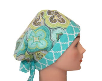 Scrub Hat Surgical Scrub Cap Chemo Hat w Tie Back Flirty Front Fold Pixie Style Medallion Green Yellow Teal Quatrefoil 2nd Item Ships FREE