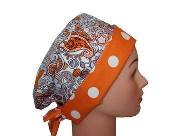 Scrub Hat Surgical Scrub Cap Chemo Chef Vet Nurse Dentist Hat Flirty Front Fold Pixie Orange Blue Purple Paisley Dots 2nd Item Ships FREE