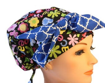 Scrub Hat Cap Chemo Bad Hair Day Hat  European BOHO Banded Pixie Tie Back Retro Peace Love Blue Tie Band 2nd Item Ships FREE