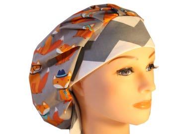 Scrub Cap Surgical Hat Chef   Dentist Hat Tie Back Bouffant Foxy Orange  Grey Glasses Hats 2nd Item Ships FREE