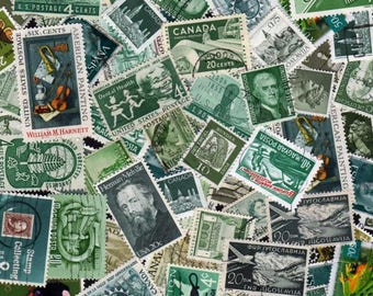 Green stamps, Green Postage stamps, Shades of Green, Greenish Stamps,Off Paper,Green Colored Stamps, Paper Art, Decoupage,  Collages, Crafts