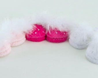 Rhinestone fuzzy slippers to fit 18 inch dolls such as American Girl, Our Generation etc
