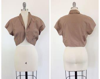 50s Brown Cropped Jacket / 1950s Vintage Cotton Bolero / Medium / Size 8