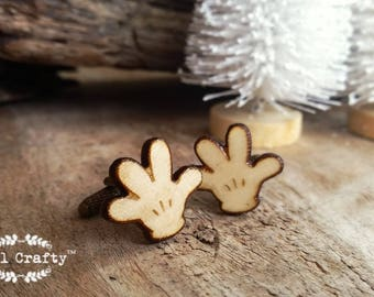 Mickey Mouse Hand Wooden Cufflinks Glove Palm Walt Disney Dad Grooms Best man Groomsman Rustic Wedding Birthday Gift Cuff links