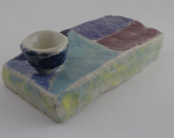 Yellow, turquoise, blue, purple, and maroon box-shaped ceramic tobacco pipe!