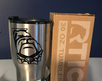 30oz Rtic Tumbler with Ga Bulldog decal