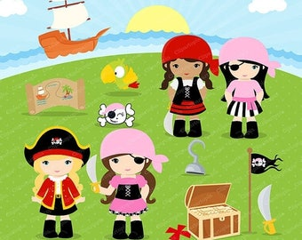 50% OFF SALE PIRATES Girls Digital Clipart, Little pirate girl clip art, Pink girls pirates clipart for Personal and Commercial Use, instant