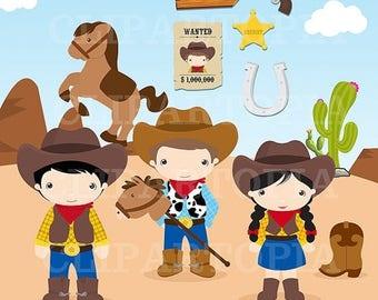 50% OFF SALE Cowboys digital clipart / Little Cowboys Clip art / Wild West Clipart for personal and Commercial Use / instant Download