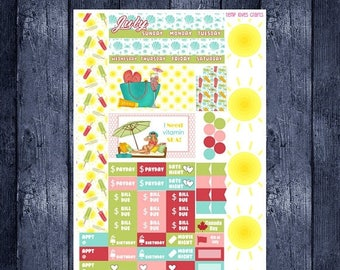 On Sale July Summer Monthly Stickers for Personal Planner Sew Much Crafting Month View