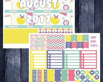 Weekend Sale August/September Back to School Monthly Stickers for New Erin Condren Life Planner
