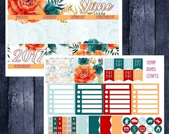 June Floral Monthly Stickers for New Erin Condren Life Planner