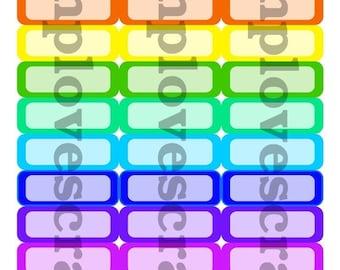 Weekend Sale 36 Bold Rainbow quarter box stickers for erin condren life planner