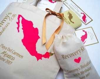 Set of 12 Mexico Screen Printed Canvas Tote Bags For Wedding Guests, hotel welcome bags, beach tote bags, tote bags, destination wedding bag