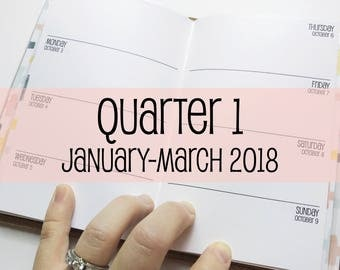 Traveler's Notebook POCKET Size Week on Two Pages {Q1 | January-March 2018} #600-11