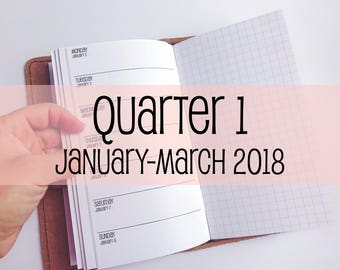 Traveler's Notebook PERSONAL Size Week on One Page with Grid {Q1 | January-March 2018} #700-21