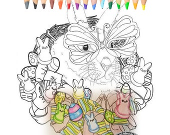 Coloring Book for Adults , Easter, eggs, Chick, bird ,flowers, candies