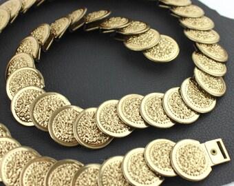 Gold Gladiator Metal Elastic Belt - size medium / large