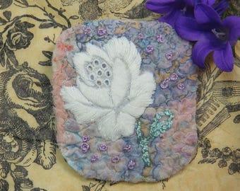 BROOCH - nuno felted, flower embellishment. Wearable art from UK