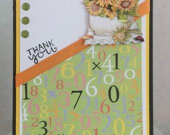 Teacher Sunflower Thank You Card TE02