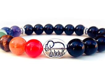 Prosperity Elephant bracelet, 7 Chakra bracelet, Onyx bracelet, Elephant bracelet, Yoga bracelet, Chakra Elephant bracelet, Meditation