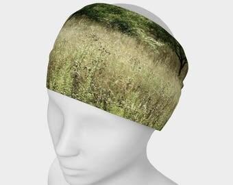 Tree Yoga headband, Workout Headband, No Slip Headband, Grass Hair Band, Nature Headband, Running Headband, Active Wear, Spandex Head Wear
