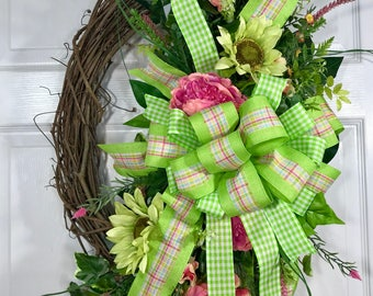 Lime Green and Pink Spring or Summer Oval Grapevine Wreath
