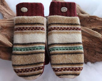 Wool sweater mittens lined with fleece with Lake Superior rock buttons in brown, tan, green, and cranberry, Valentines Day, coworker gift