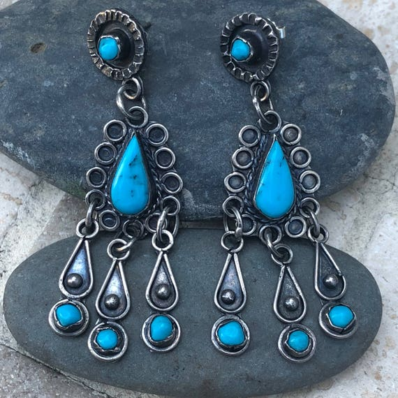 Vintage sterling and turquoise taxco earrings