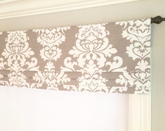 Faux (fake) Flat Roman Shade Valance.  Premier Prints Berlin Slub Ecru.  Taupe and White.   Other colors available.