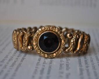 Antique Gold Filled Stretch Bracelet - 1900s Gold Filled Expansion Bracelet, Purple Paste Stone Center