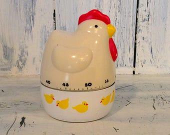 Retro kitchen timer, mid century chicken timer, vintage small kitchen time clock, chicken timer, antique chicken kitchen timer