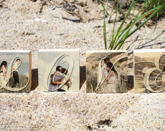 PERSONALIZED ANNIVERSARY GIFT: Love Photo Block Set, Four photos on wood, Gift for Boyfriend, Girlfriend, Gift for Husband, Wife, Couple