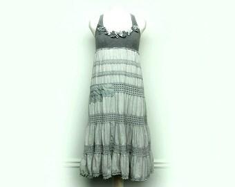 Boho Chic Clothing, Gray Shabby Chic Dress, Free People, Anthropologie, Mori Girl Style Upcycled Clothing by Primitive Fringe
