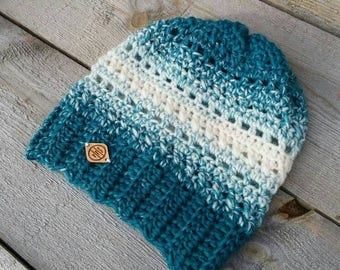 Arctic Ombre Beanie Crochet Pattern, Crochet Hat Pattern, Crochet Beanie Pattern, One Skein Crochet Pattern, One Hour Crochet Pattern