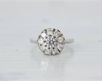 Mid Century Engagement Ring | Vintage Diamond Halo Cluster Ring | 14k White Gold Cocktail Ring | Eco Friendly Engagement Ring | Size 5