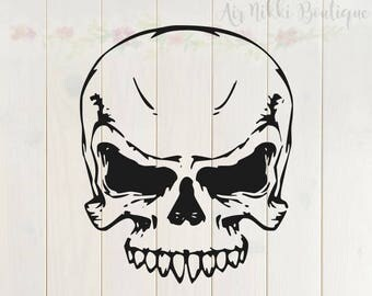 Skull SVG, PNG, DXF files, instant download