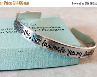 Sale SALE!  Marriage made you family but love made you my daughter personalized cuff bracelet stepdaughter wedding
