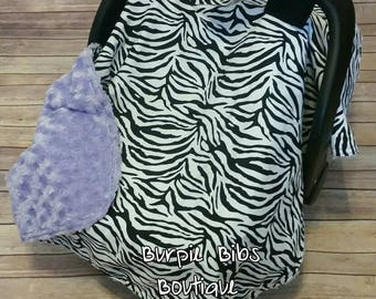 Zebra Print Car Seat Canopy, Animal Print Carseat Canopy, Baby Girl Car Seat Tent, Purple Swirl Minky Car Seat Canopy, Baby Shower Gift