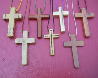 Seven Assorted Hand Carved Wooden Cross Necklaces  #3