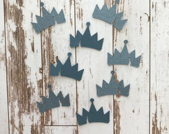 50 pcs Descendants 2 Movie - Die Cut/Party/Decorations/Embellishment/Table Scatter/Cupcake Topper  - Metallic Blue Evie Crown