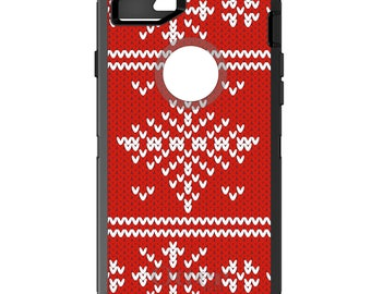 Custom OtterBox Defender Case for Apple iPhone 6 6S 7 8 PLUS X 10 - Monogram - Red White Ugly Christmas Sweater - Gift for Mom