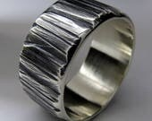Mens Wedding Ring Wide Sterling Silver Black Texture Lines Band 10mm Wide